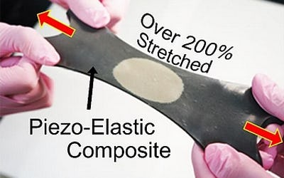 Hyper-stretchable elastic-composite energy harvester