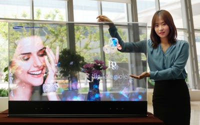 First mirror and transparent OLED display panels