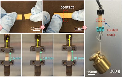 Self-healing, flexible electronic material functions after many breaks