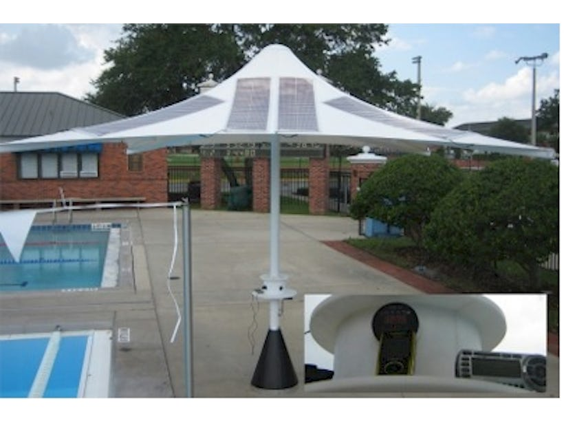 Umbrella converts sunlight to electricity