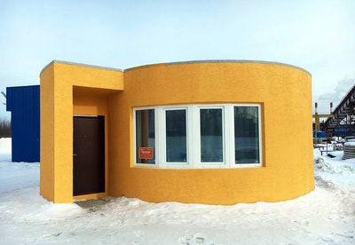 The first on-site house has been printed in Russia