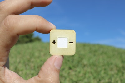 Metal-free biotically degradable battery for single-use applications