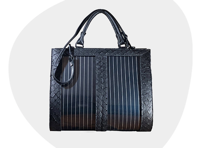 A solar bag made from Amazonian fish skin