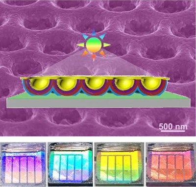Perovskite solar cells with iridescent colors