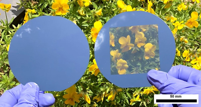 Punching Holes in Opaque Solar Cells Turns Them Transparent