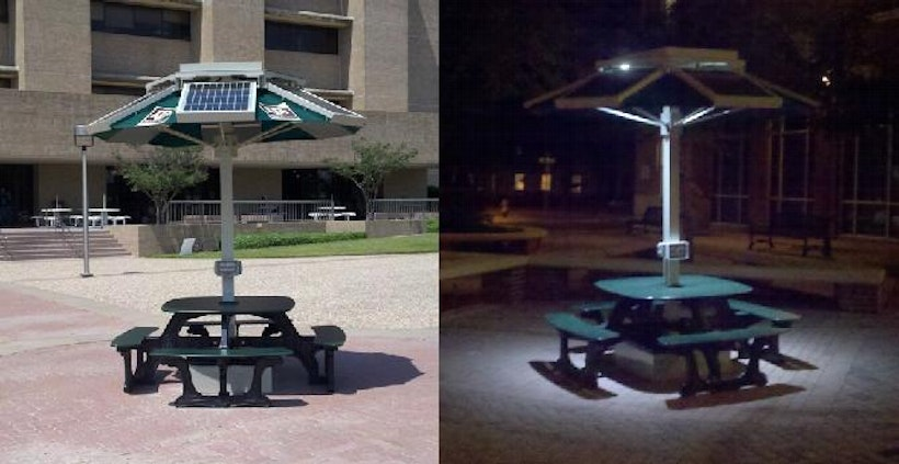 Picnic Table To Charge Small Devices - Solar picnic table