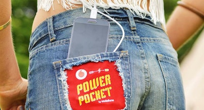 Sleeping bag or shorts can charge mobile devices