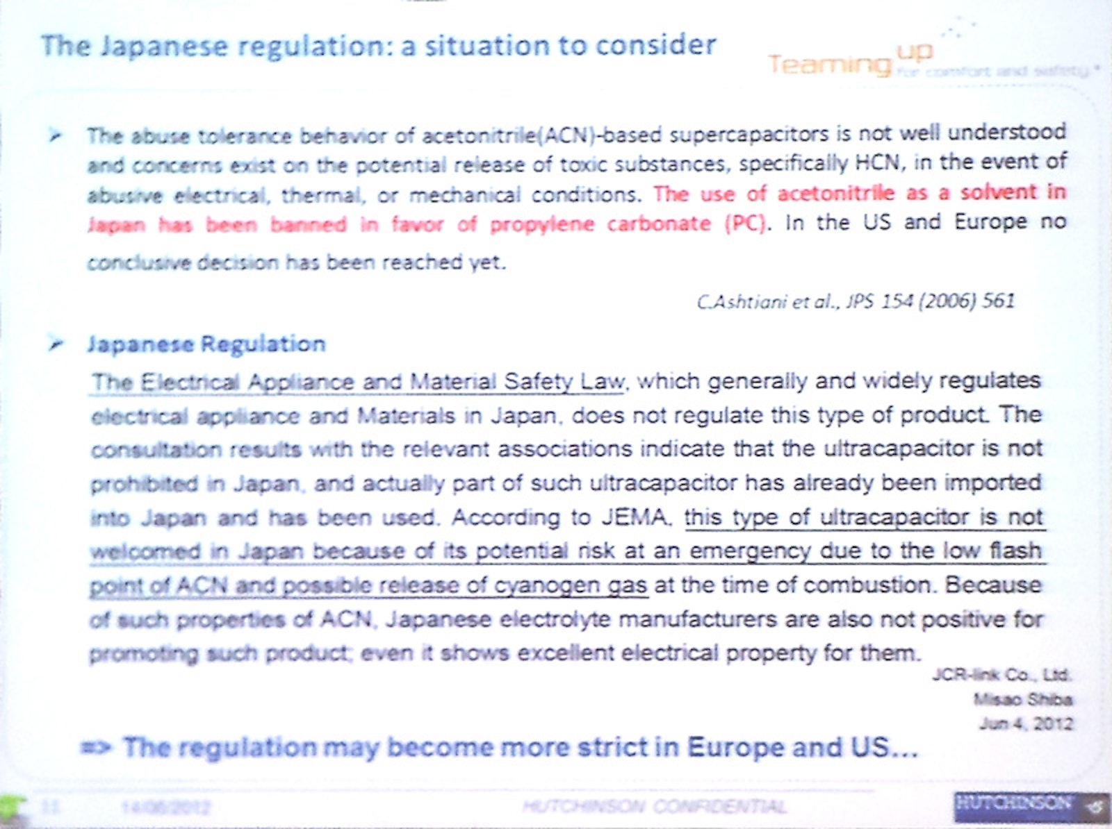 More acetonitrile concerns | Electric Vehicles Research