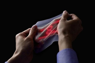 Ultrathin, highly elastic skin display