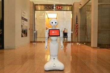 Humanoid robots help out at HSBC