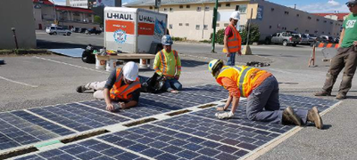 City of Prince George installs a section of solar road