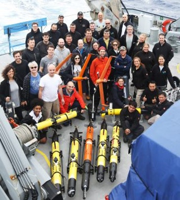 Fleet of aerial, surface and underwater robots maps ocean front
