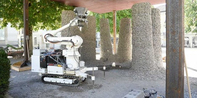 Construction robot creates pavilion with stones and string