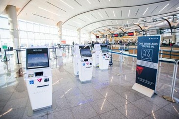 Facial recognition check in from curb to gate with biometric terminal
