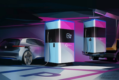 Volkswagen first glimpse of mobile charging station