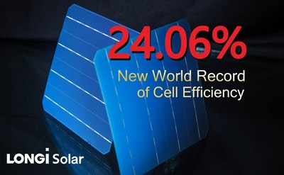 New bifacial mono-PERC solar cell world record at 24.06 percent