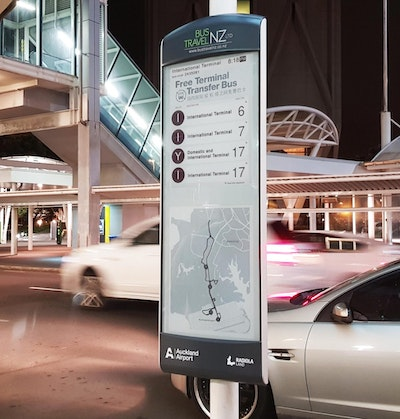 E-paper bus stop for Auckland Airport