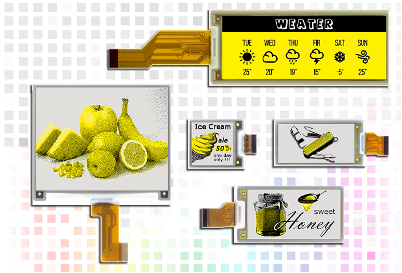 Pervasive Displays launches compact yellow tri-color e-paper displays