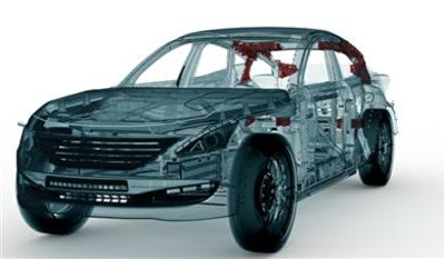 Lightweighting potential in hybrid automotive body parts