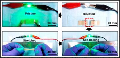 Material for wearables that can self heal after being stretched or cut
