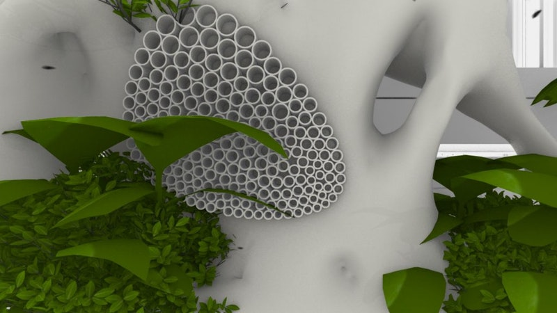 Urban green habitat 3D-printed with multiple recycled filaments