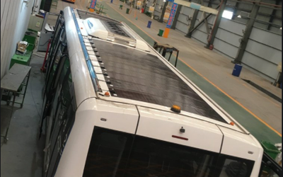 Airport shuttle bus thin-film PV roof system