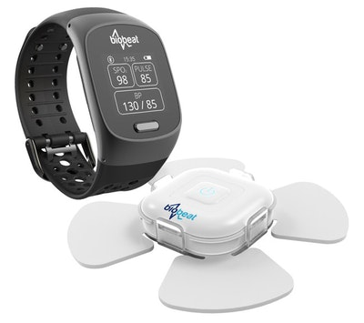 Wearable watch and patch for cuffless blood pressure monitoring
