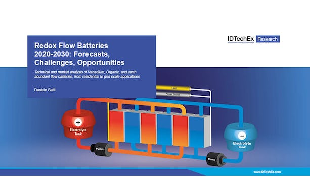 Redox Flow Batteries 2020-2030: Forecasts, Challenges, Opportunities