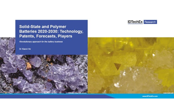Solid-State and Polymer Batteries 2020-2030: Technology, Patents, Forecasts, Players