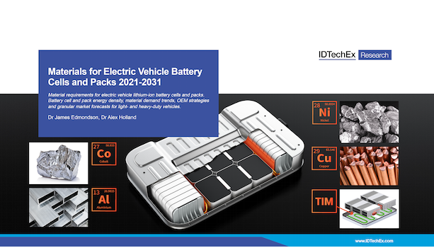 Materials for Electric Vehicle Battery Cells and Packs 2021-2031